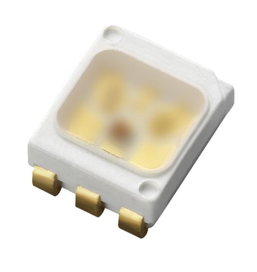 億光的全新車用LED67-63U(AM)為三晶合一、PLCC6 的封裝產品,尺寸僅有3.5x2.8x1.4 mm,